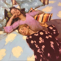 """Variation on a Theme"" oil painting of two women resting in bed with polka dots"
