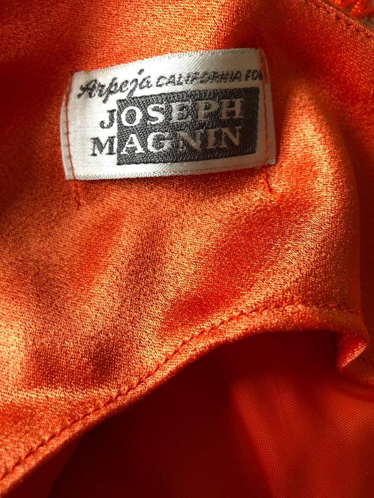 Joseph Magnin 1960s Amazing Bright Orange Fully Fringe Flapper Jersey 60s Dress For Sale 5