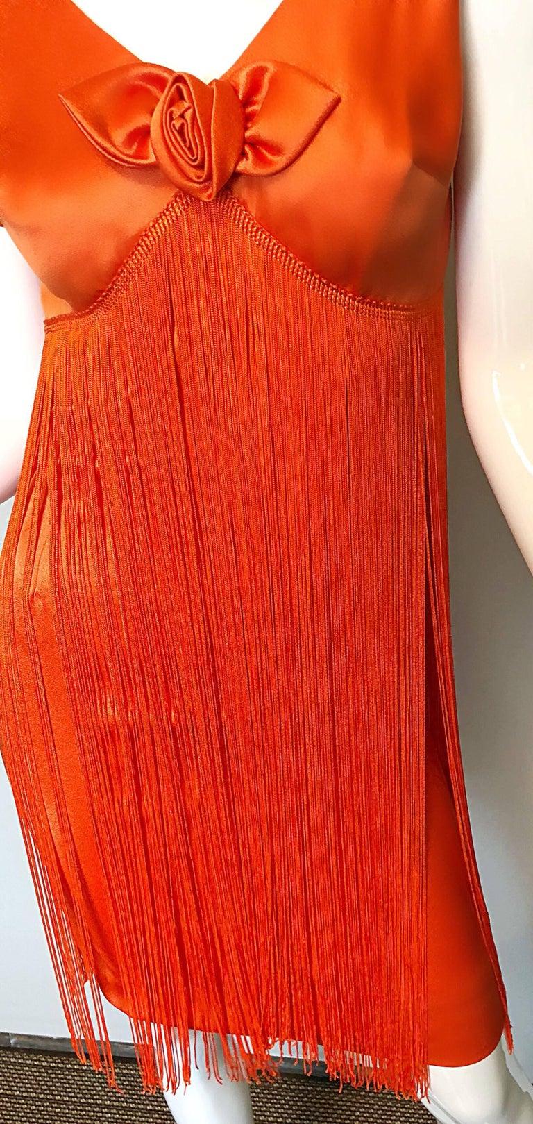 Joseph Magnin 1960s Amazing Bright Orange Fully Fringe Flapper Jersey 60s Dress For Sale 1