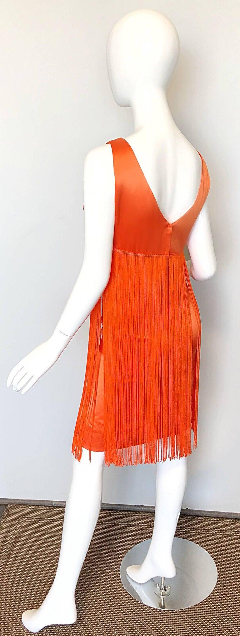 Joseph Magnin 1960s Amazing Bright Orange Fully Fringe Flapper Jersey 60s Dress For Sale 2