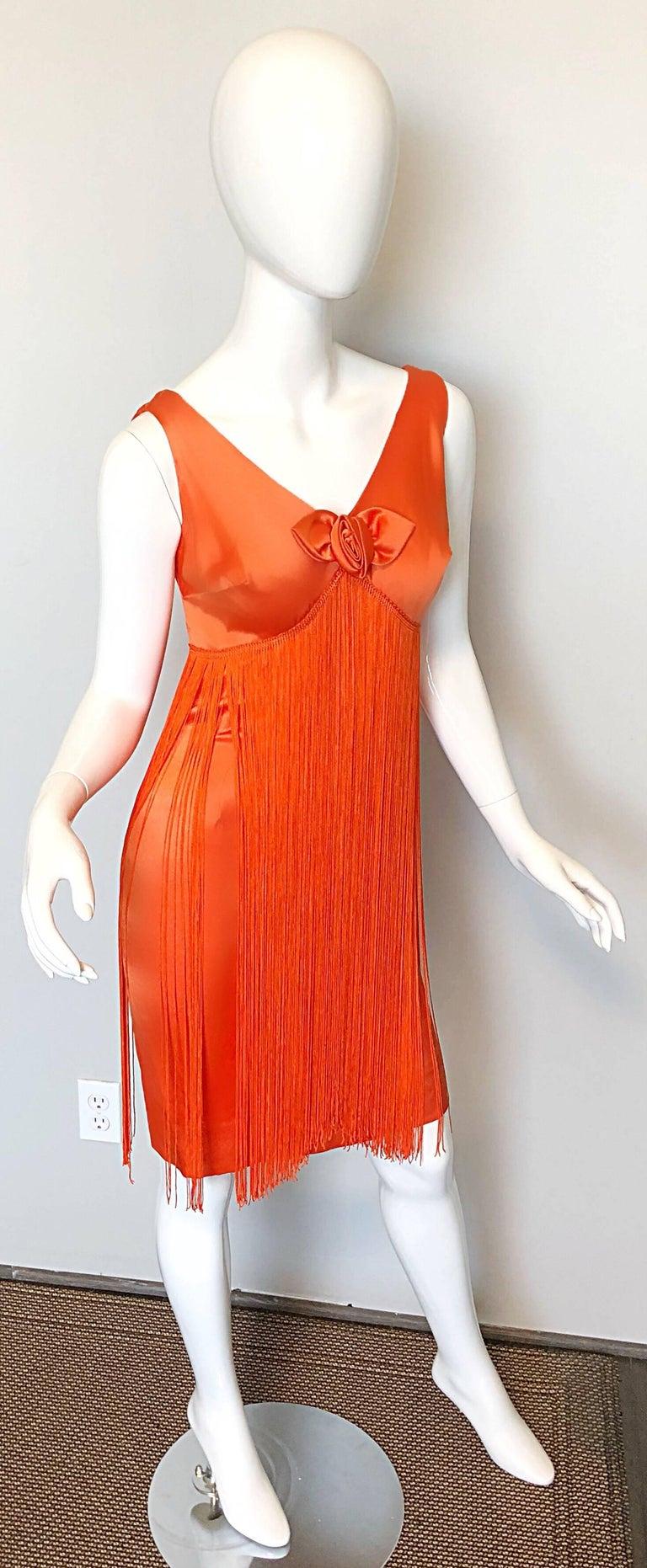 Joseph Magnin 1960s Amazing Bright Orange Fully Fringe Flapper Jersey 60s Dress For Sale 3