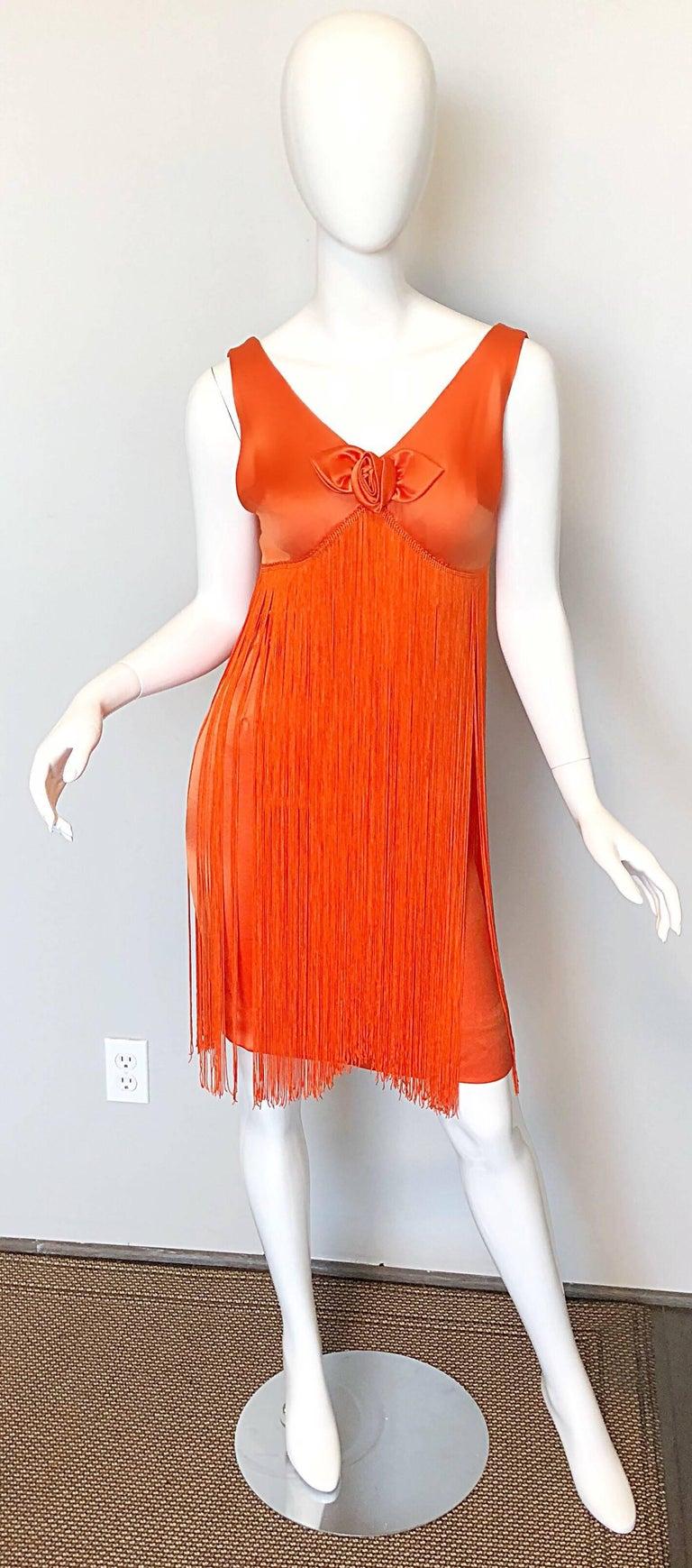 Joseph Magnin 1960s Amazing Bright Orange Fully Fringe Flapper Jersey 60s Dress For Sale 4