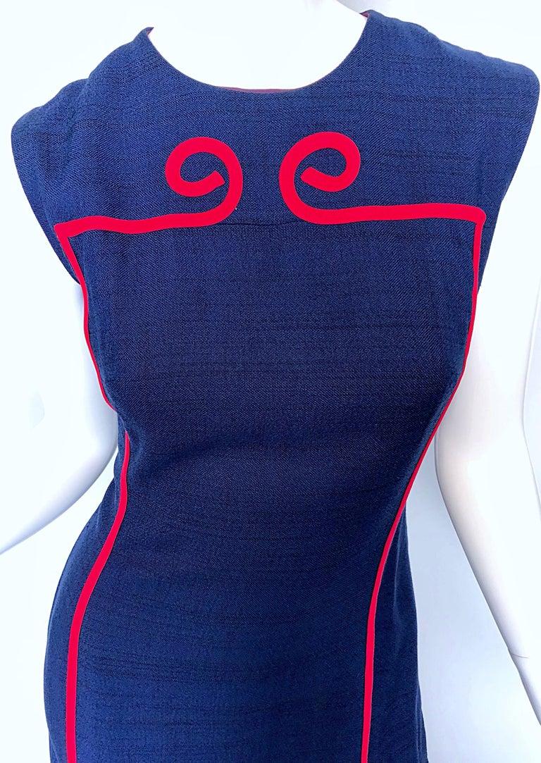 Purple Joseph Magnin 1960s Navy Blue + Red Linen Silk Nautical Vintage 60s Shift Dress For Sale