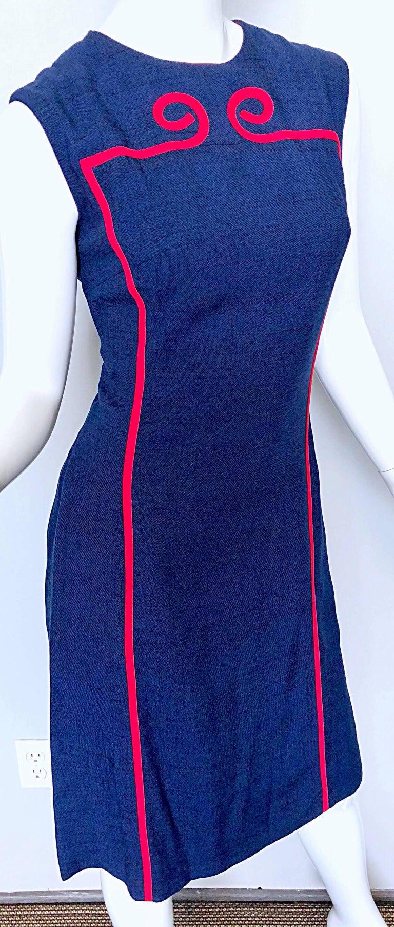 Joseph Magnin 1960s Navy Blue + Red Linen Silk Nautical Vintage 60s Shift Dress For Sale 1