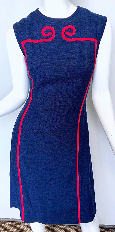Joseph Magnin 1960s Navy Blue + Red Linen Silk Nautical Vintage 60s Shift Dress For Sale 2