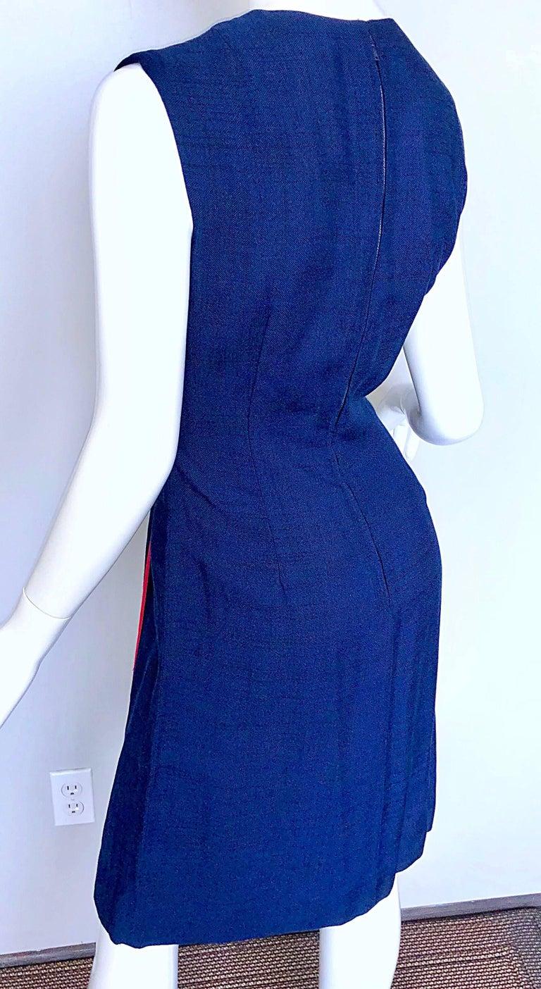 Joseph Magnin 1960s Navy Blue + Red Linen Silk Nautical Vintage 60s Shift Dress For Sale 3