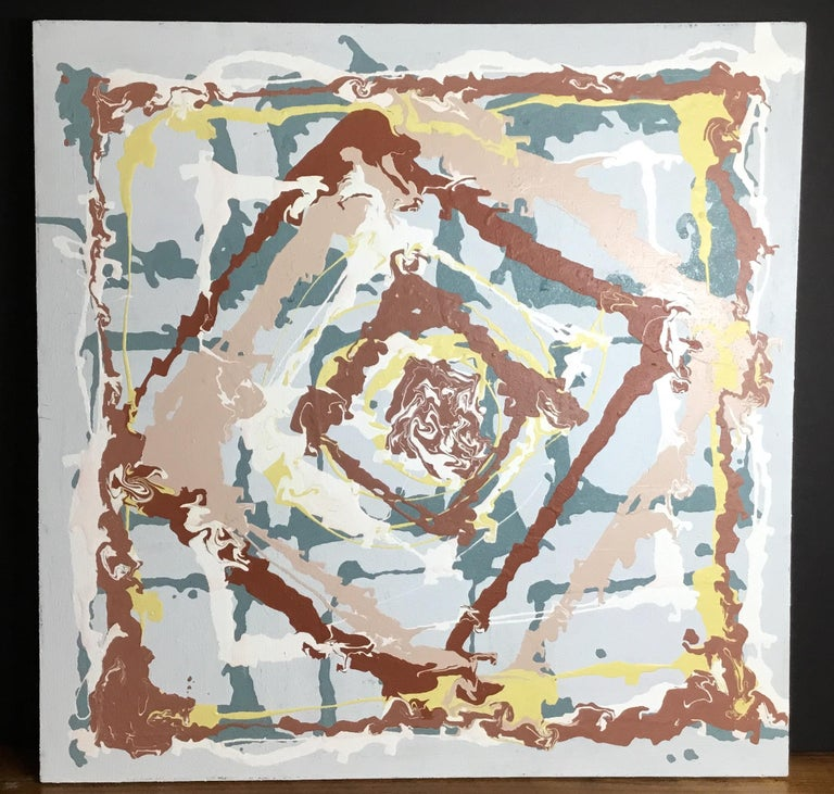 Contemporary square abstract painting, mixed-media of acrylic paint resin and Delray Beach Florida white beach sand, soft colors, all together to become beautiful and intriguing painting to hang. Signed by the artist in the back.