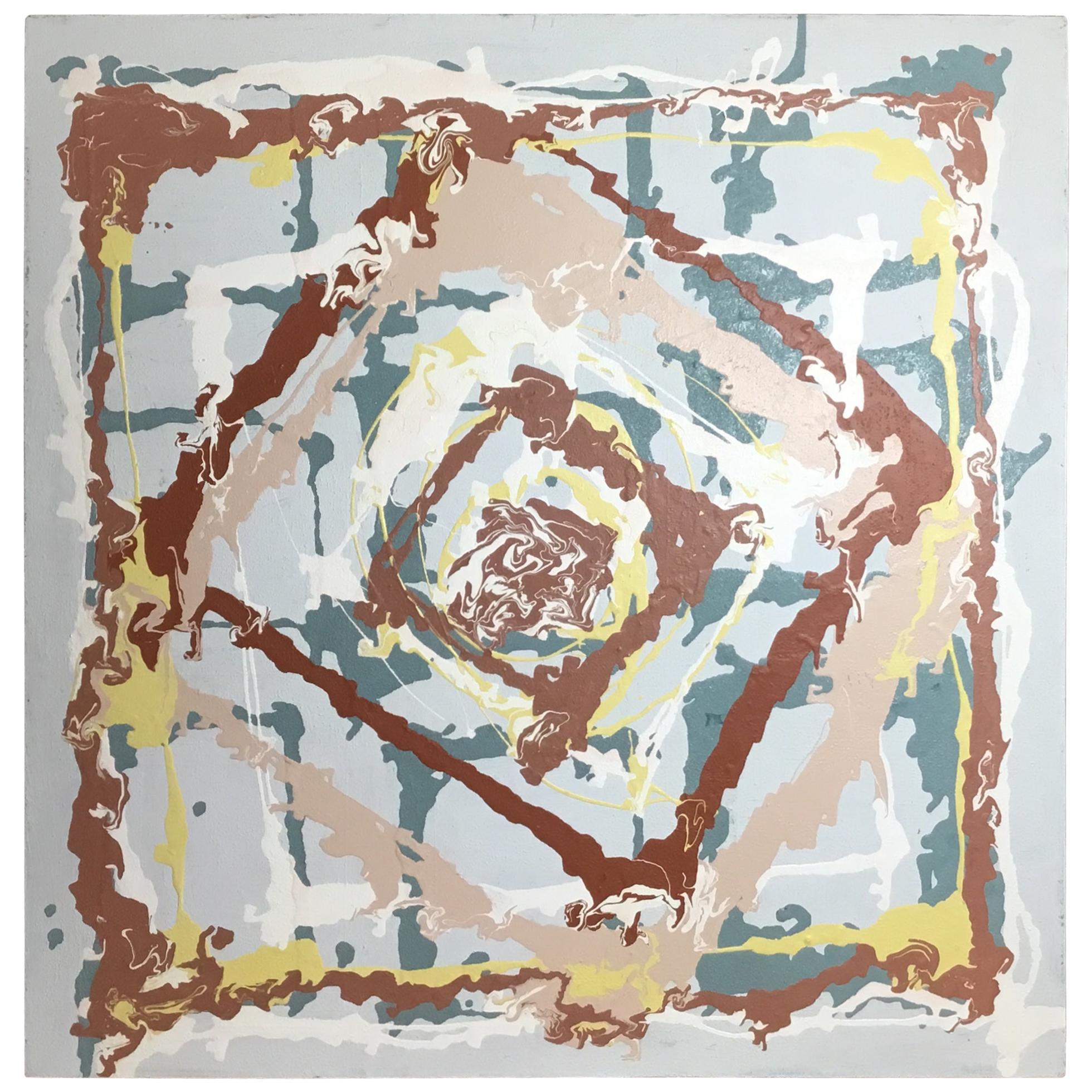 Joseph Malekan 'Delray Beach' Abstract Mixed-Media Painting