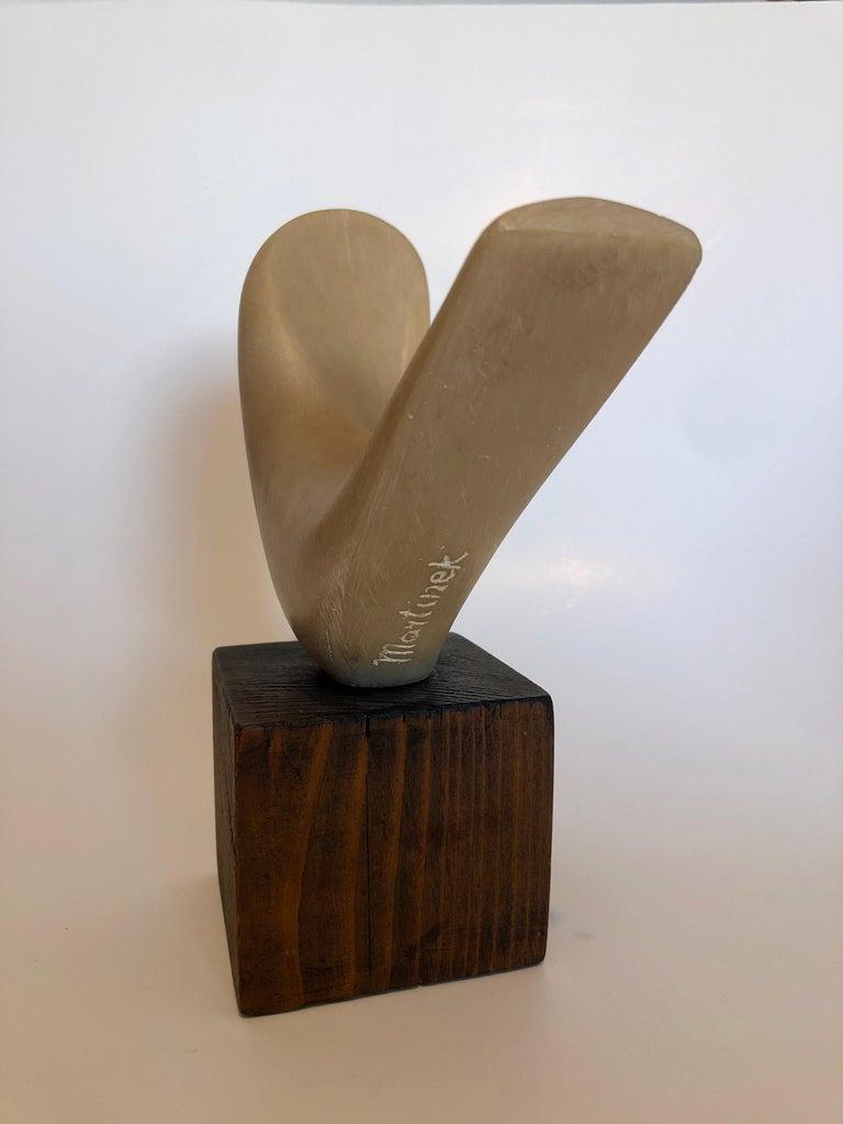 Czech Art Deco Carved Natural Resin Cubist Dove Bird Sculpture Joseph Martinek For Sale 2