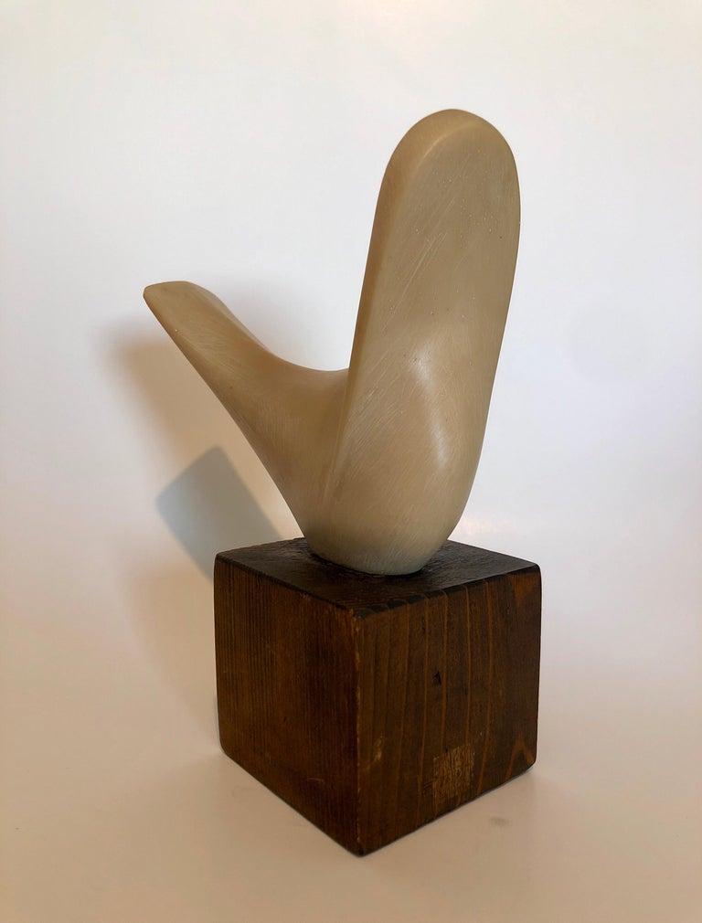 Czech Art Deco Carved Natural Resin Cubist Dove Bird Sculpture Joseph Martinek For Sale 5
