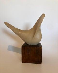 Czech Art Deco Carved Natural Resin Cubist Dove Bird Sculpture Joseph Martinek