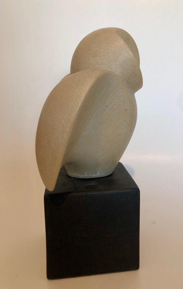 Czech Art Deco Carved Natural Resin Cubist Owl Bird Sculpture Joseph Martinek For Sale 1
