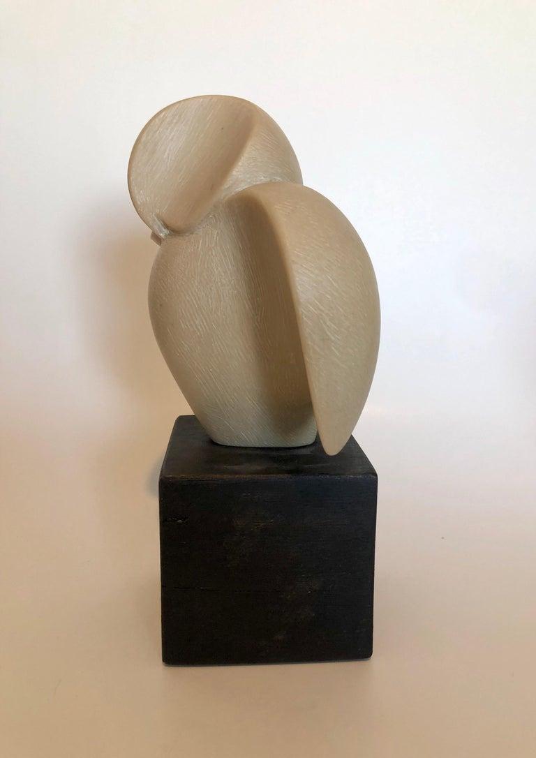 Czech Art Deco Carved Natural Resin Cubist Owl Bird Sculpture Joseph Martinek For Sale 4