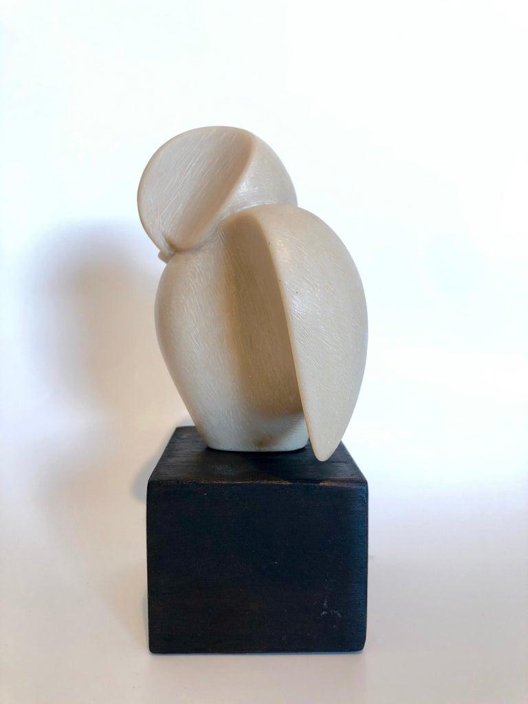 Czech Art Deco Carved Natural Resin Cubist Owl Bird Sculpture Joseph Martinek - Brown Abstract Sculpture by Joseph Martinek