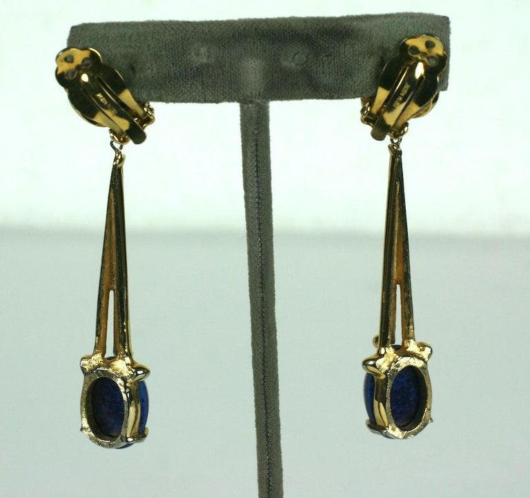 Joseph Mazer Long Modernist Faux Lapis Earrings in unusual melted gold form settings. Clip back fittings. 1970's USA. Signed Jomaz. 3