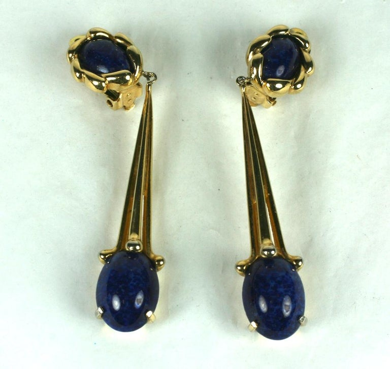 Joseph Mazer Long Modernist Faux Lapis Earrings In Excellent Condition For Sale In Riverdale, NY