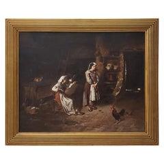 "Joseph Mazzuloni 'Italy' ""The Broken Jug"" Original Oil Painting, circa 1890s"