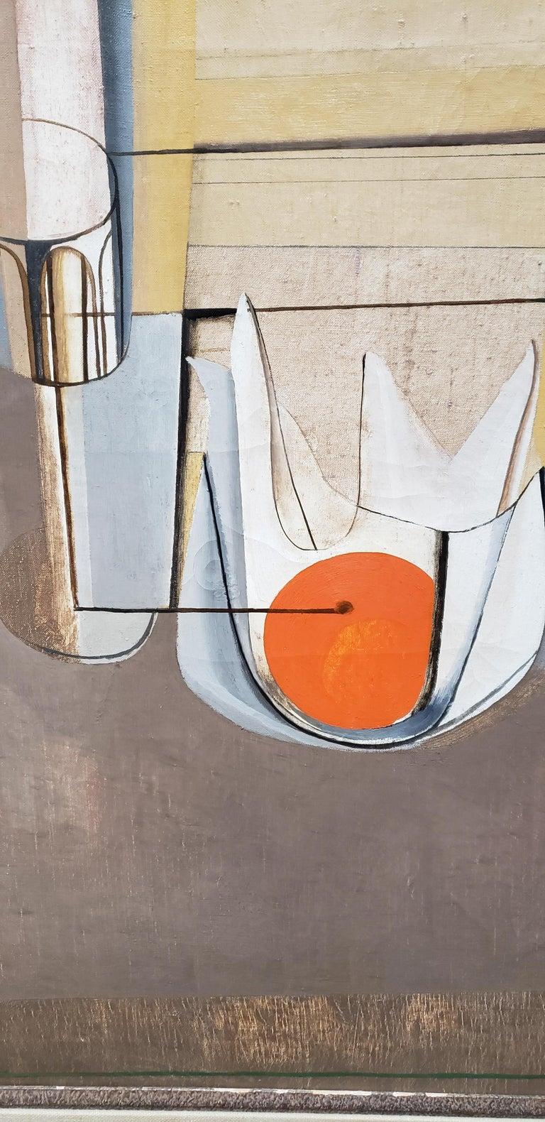 20th Century Joseph Mellor Hanson, Still Life with an Orange Oil on Canvas, 1956 For Sale