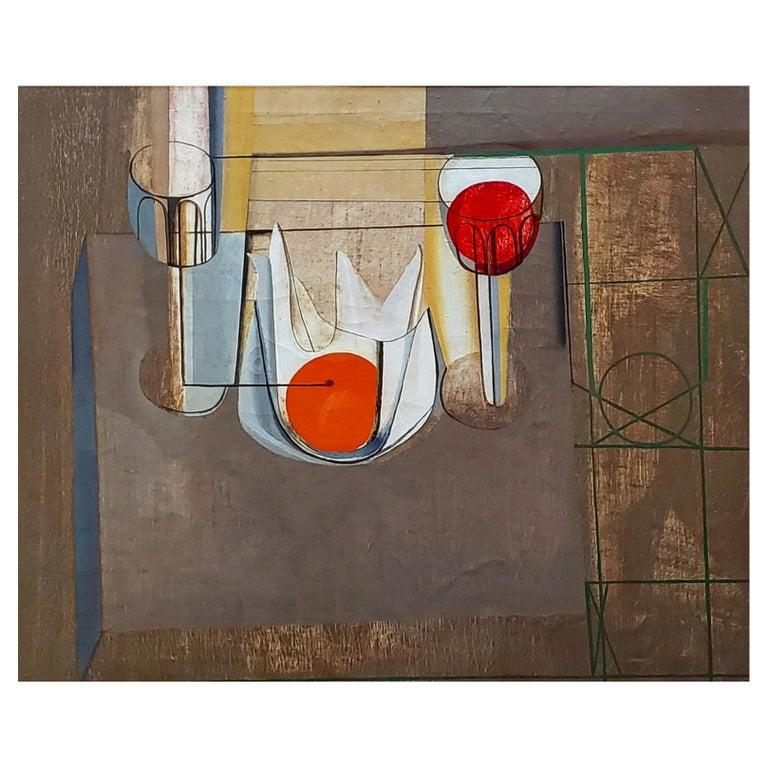 Joseph Mellor Hanson, Still Life with an Orange Oil on Canvas, 1956 For Sale