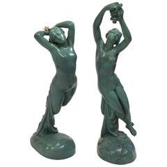 "Joseph Michelangelo Pollet 2 Painted Bronze Figures, ""Une Heure De La Nuit"""