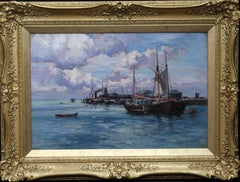 Boats at Harbour - Scottish art Victorian Impressionist oil painting seascape