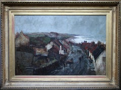 Harbour Storm - Scottish Impressionist oil painting village cottages cart horse