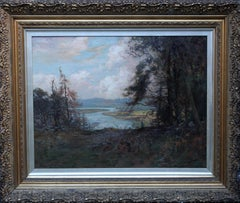 River Landscape - Scottish art Victorian Impressionist panoramic oil painting
