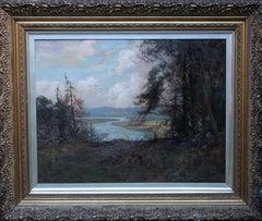 River Landscape - Scottish art Victorian Impressionist panoramic oil painting