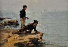 Trying Their Luck.Original Oil Painting.Scottish Artist.Boys Fishing circa 1883