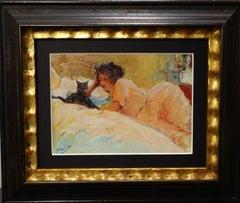 """""""Le modèle et son chat."""" Oil cm. 34 x 23 1920"""