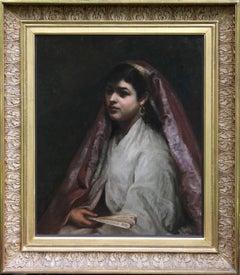 Arabian Beauty - British Orientalist exh art portrait oil painting Jewish artist