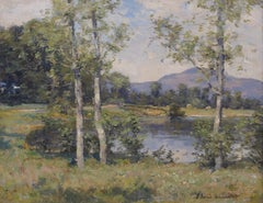 'Ben Lomond from near Luss' Scottish Landscape painting with trees, mountain