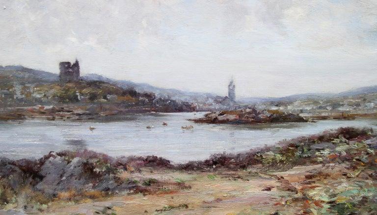 Tabert Castle Loch Fyne Scotland - Scottish Impressionist art oil painting - Gray Landscape Painting by Joseph Morris Henderson