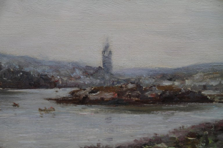 This lovely Victorian Scottish landscape oil painting is by noted Scottish artist Joseph Morris Henderson. It depicts Tarbert Castle in Scotland with Tabert Kirk in the background and boats sailing across Loch Fyne. It is painted with superb fluid