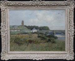 The Auld Brig Ballantrae - Scottish 19thC Impressionist landscape oil painting