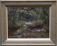 The Burn -Scottish Edwardian exhibited art Impressionist landscape oil painting