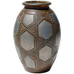 Joseph Mougin Art Deco Metallisch Glasierte Töpferwaren-Vase