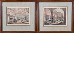 A Pair of 19th Century Colored Lithographs of Tudor Scenes by Joseph Nash