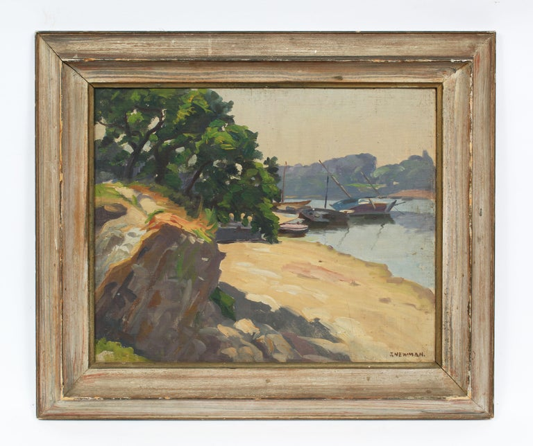 Antique Impressionist New England Harbor Original Signed Sailboat Oil Painting - Brown Landscape Painting by Joseph Newman