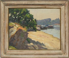 Antique Impressionist New England Harbor Original Signed Sailboat Oil Painting