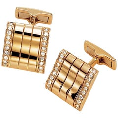Joseph Orlando 18 Karat Rose Gold and .40 Carat Diamond Ribbed Cufflinks