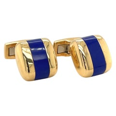Joseph Orlando 18 Karat Yellow Gold Lapis Lazuli Pillow Shaped Cuff Links