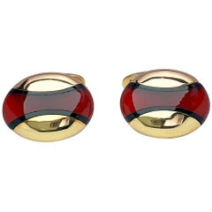 Joseph Orlando 18 Karat Yellow Gold Oval Cufflinks with Black Onyx and Carnelian
