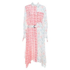 Joseph Pastel Peony Printed Silk Handkerchief Hem Belted Cyprien Shirt Dress M