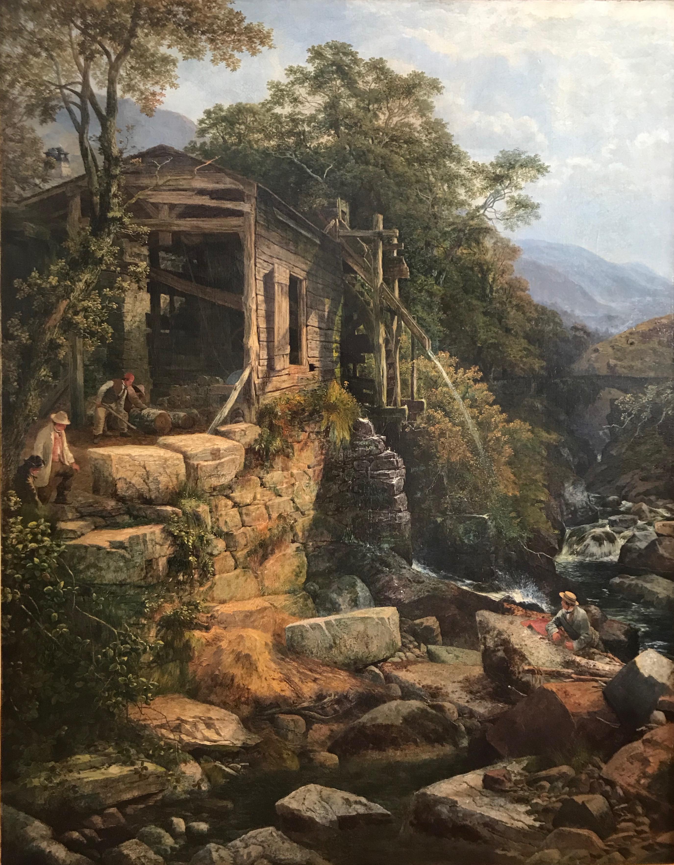 Joseph Paul Pettitt, Very large Victorian river landscape, North Wales