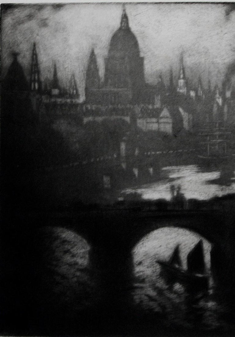 Wren's City - Black Landscape Print by Joseph Pennell