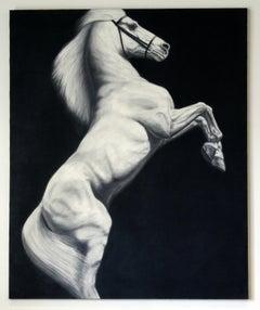 Hyperrealist Contemporary Horse Graphite on Canvas Joseph Piccillo Framed B&W