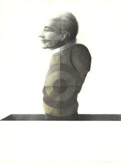 1974 Joseph Piccillo 'Study February (1974)' Surrealism Black & White Mixed Medi