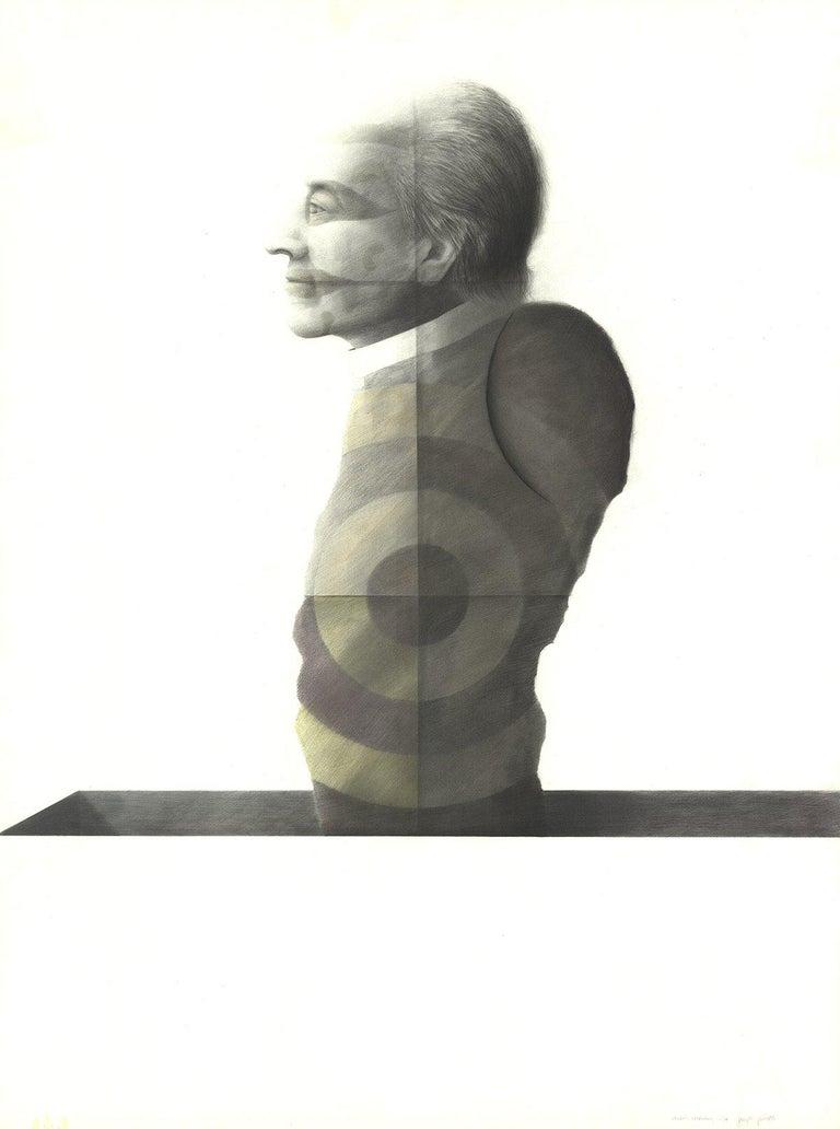1974 Joseph Piccillo 'Study February (1974)' Surrealism Black & White Mixed Medi - Print by Joseph Piccillo