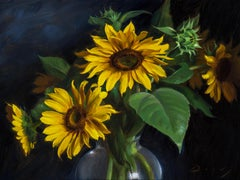 """Realist oil painting, """"Sunflowers"""""""